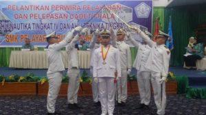 Peserta Pelantikan Perwira dan Cadet Prala SMK Pelayaran Buhana Bahari Medan di Hotel Madani Jalan Sisingamangaraja Medan, kemarin (3/11/2016)